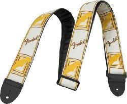 "FENDER 2"" Monogrammed Strap White/Brown/Yellow"